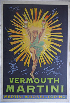 "Antique bookbinding advertising poster ""Cappiellio Vermouth Martini"" - Rossi - Torinio - 1950/1960"
