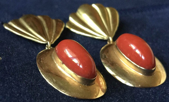 Earrings 750 gold and coral handmade in Italy