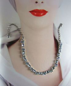 Vintage 1950s - Rare Art Deco revival - Large Diamante with AB details Rhodium plated Evening Necklace - Pristine