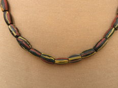 Venetian beaded Necklace with coloured glass (chevron) beads - 52 cm.