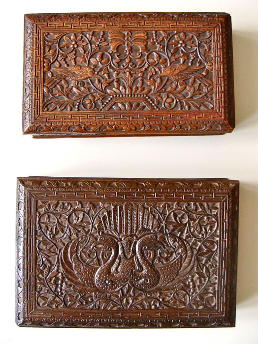 Two decorated wooden boxes with picture of birds - Japara - Java - Indonesia