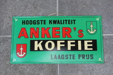 ANKER KOFFIE 1959 - nice old belgian metal double sided !! advertising coffee sign