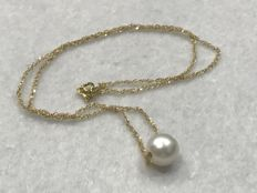 18 kt Gold choker with cultured pearl - 39.10 cm.