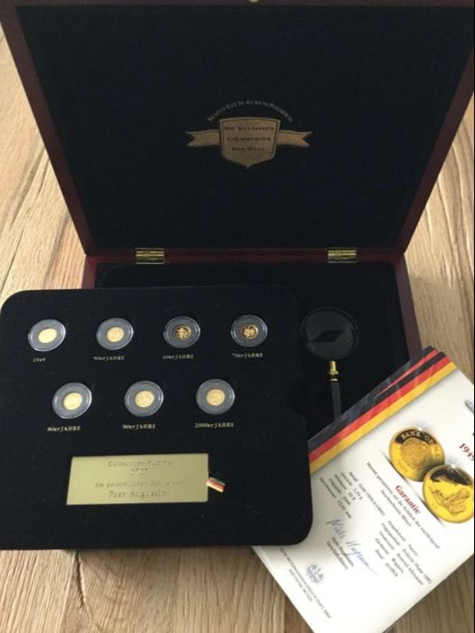 "Germany - Coin collection ""7 decades of Germany"" - 7 x 1/25 oz gold"
