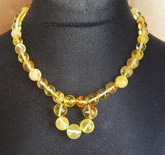 Natural baltic amber necklace egg yolk and yellow honey colour, Length 47 cm