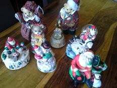 Lot of eight different Christmas musical boxes.