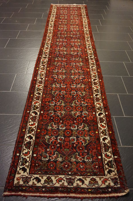 Persian carpet, Hamadan, runner, 80 x 320 cm, made in Iran, best highland wool