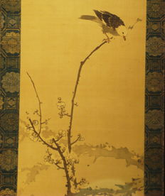 "Antique hanging scroll - ""Bird on ume (Plum) brach"" by Kishi Gantai (1782-1865), son of Ganku - Japan - ca. 1840"