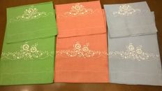 3 towels in linen with hand-made napkins, new, Florentine art -Florence