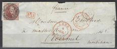 Belgium - Leopold I type 'Medallion' with watermark in frame on letter dating it July 1850 from Lens (P69) to Ploërmel (France) - OBP No. 5