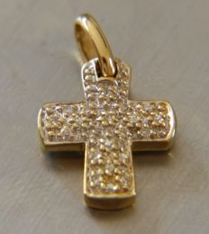 18 kt gold cross and diamonds