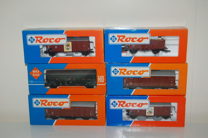 Roco H0 - 4333A/46100/47345/47652/47819 - 6 various freight wagons of the DB
