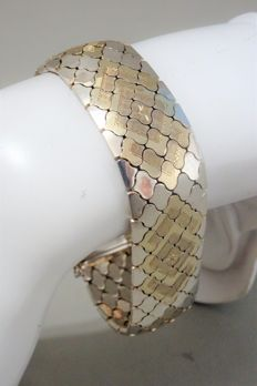 Wide, sterling silver, partly yellow gold plated bracelet  – 1960s