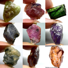 Lot of Sphene, Tourmaline, Sapphire, Ruby, Amethyst, Garnet and Zircon - 93ct (9)