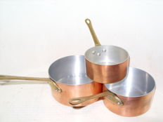 Set of 3 real French copper pans