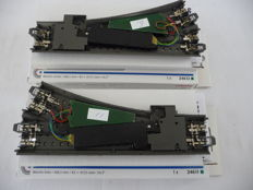 Märklin H0 - 24611/-12/74490/-60 - 2 straight C-rail switches with 2 x decoders and 2 x point driver