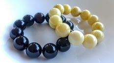 Set of 2 Baltic Amber round beads bracelet white and Ccerry colours, 85 grams