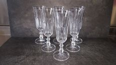 6 champagne flutes in heavy crystal