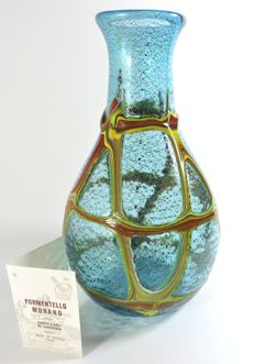 Formentello Murano - blown glass jug with polychrome glass canes