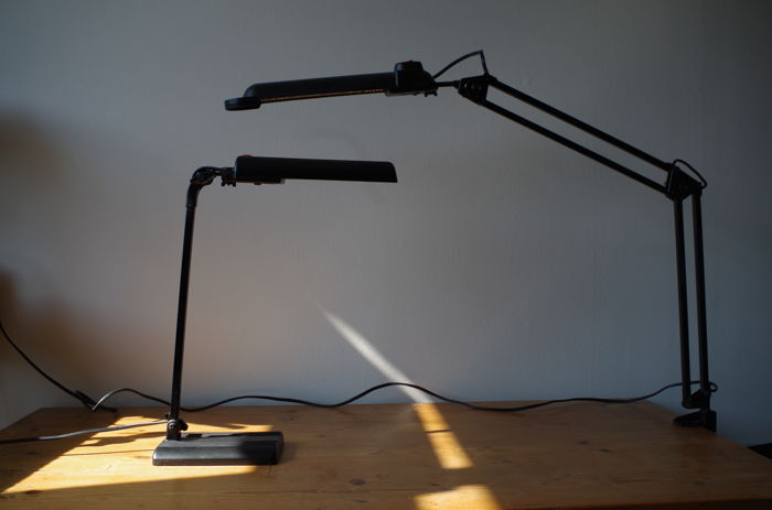 "Lival Finland – Two industrial desk lamps ""Poco"" & ""Continent"""