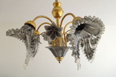 Italian vintage ceiling lamp - gold-plated - marbled murano glass - ca. 1960.