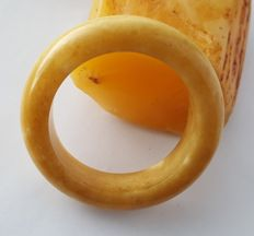 Natural Baltic amber bangle egg yolk butterscotch bracelet, 69 grams
