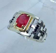 14kt solid gold & silver ruby and spinel mens ring - size 11