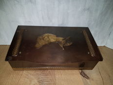 Antique copper jewellery box in hunting model.