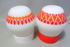 Two retro orange/white ceiling lamps - from the 60/70s