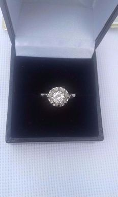 18 kt gold and 0.45 ct diamond - Ring size: 53