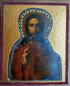 Russian icon (late 19th) - The Christ Pantocrator with metal onlay