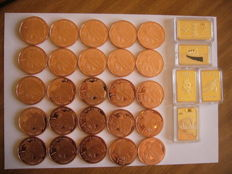 25 copper liberty eagle coins, 1 oz each, and 5 gold plated ingots