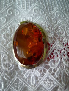 Vintage large Baltic amber pendant solid genuine silver, 1950s