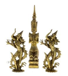Bronze divinity Theppanom (31cm) and 2 Apsaras (18,5) with dragons, 3,3Kg - Thailand - late 20th century