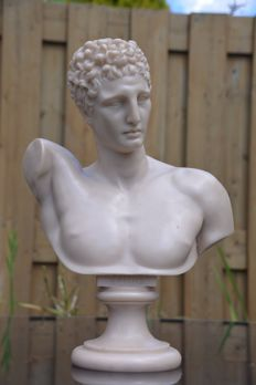 Heavy polished polystone bust of Hermes, signed