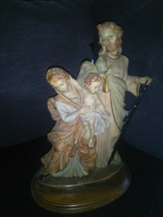 Ancient massive porcelain statue of Joseph, Mary and baby Jesus Christ