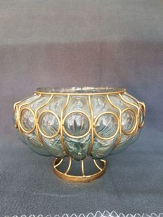 Antique mouth blown Venetian glass bowl