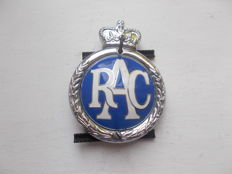 vintage RAC   chrome plated brass and enamel car grille badge with original fixings stunning  1960 - 1973 rare