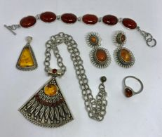 Collection Of Sterling Silver Baltic Amber pendants,  bracelet, ring and pair of earrings