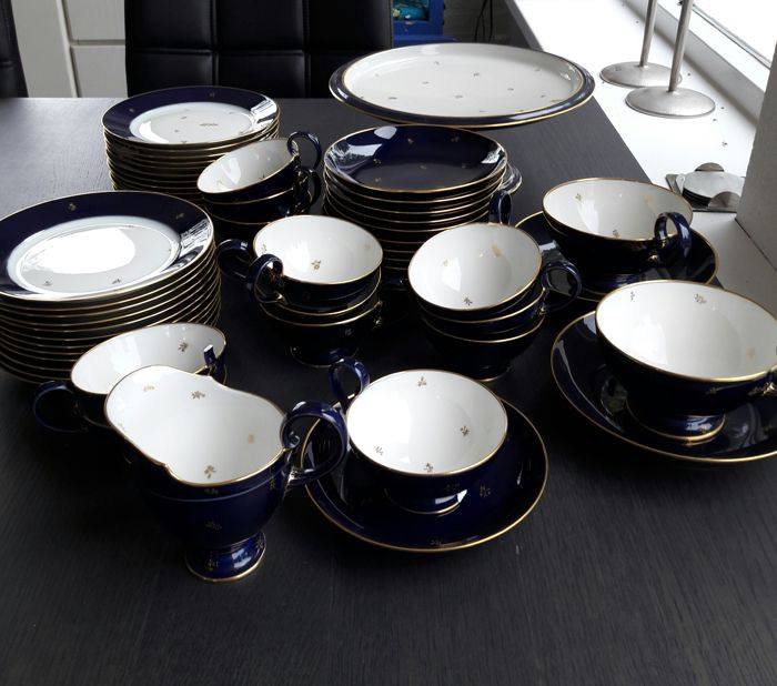 Sevres porcelain cobalt crockery - 52-piece