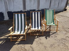 Beach chairs with striped canvas upholstery, mid 20th century, Netherlands