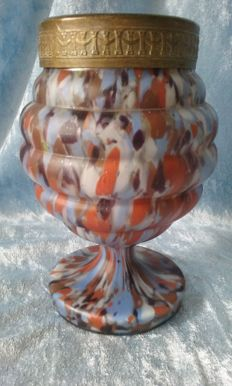 Rose bowl vase made of Opaline glass.