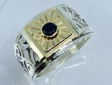 14kt solid gold & silver spinel mens ring - size 10