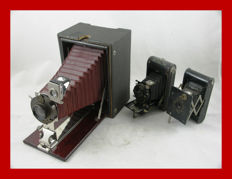 3 classic Kodak folding cameras 2 x Vest pocket and Premo with red bellows