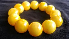 Round beads modified Baltic Amber Egg yolk colour bracelet, 47 grams