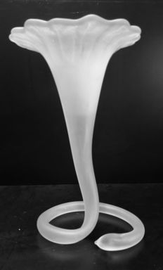 Large vintage blown lily flower on twisted foot, Italy, 1960