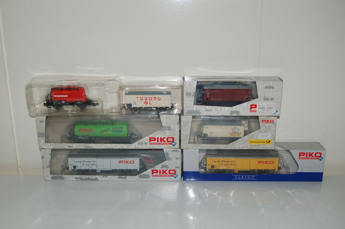 Piko H0 - 54019/95491/95830/95860/95891 - 7 various freight wagons of the DB/DR/FS/DSB
