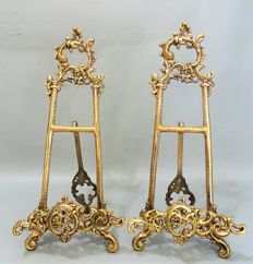 Two bronze rococo style easels - 1st half 20th century