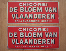 2 tin advertising signs in relief of Chicorei - De bloem van Vlaanderen