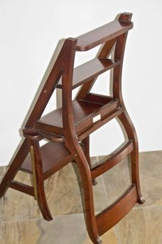 Old wooden library ladder / chair (foldable)